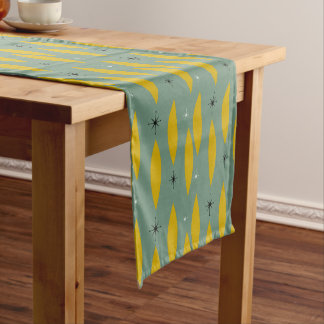 Mid Century Modern Ovals, Starbursts, Gold on Teal Medium Table Runner