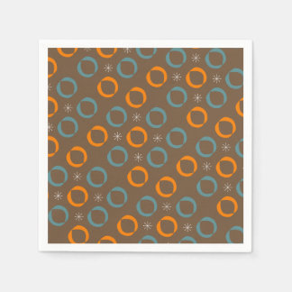 Mid Century Modern, Ovals, Stars Teal Orange Brown Disposable Napkin