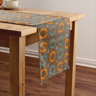 Mid Century Modern, Ovals, Stars Teal Orange Brown Long Table Runner