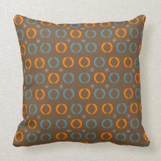 Mid Century Modern, Ovals, Stars Teal Orange Brown Throw Pillow