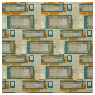 Mid-Century Modern Pattern Turquoise Orange Fabric