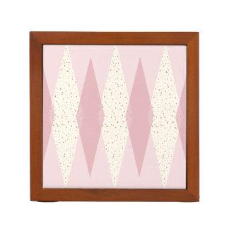 Mid Century Modern Pink Argyle Desk Organizer