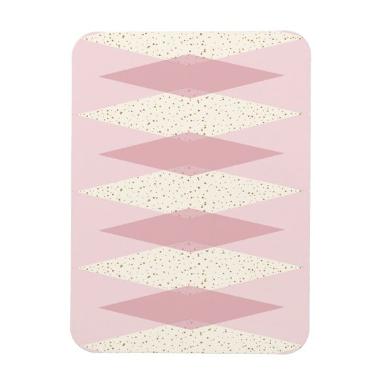 Mid Century Modern Pink Argyle Flexible Magnet