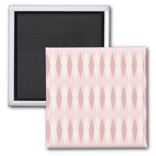 Mid Century Modern Pink Argyle Magnet