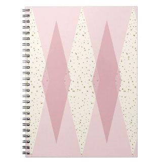 Mid Century Modern Pink Argyle Spiral Notebook