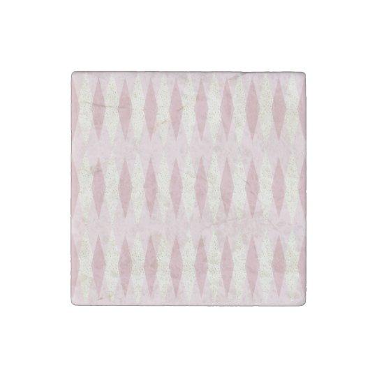 Mid Century Modern Pink Argyle Stone Magnet Stone Magnets