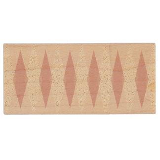 Mid Century Modern Pink Argyle Wooden Flash Drive