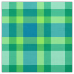 Mid-Century Modern Plaid - Jade green and Blue Fabric