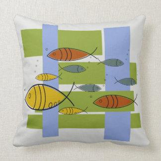 Mid Century Modern Retro Fish Swimming on Gray Throw Pillow