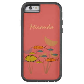 Mid Century Modern Retro Fish Swimming Plants Name Tough Xtreme iPhone 6 Case