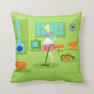 Mid Century Modern Retro Housewife Throw Pillow