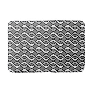 Mid-Century Modern Ribbons, grey, black and white Bath Mat