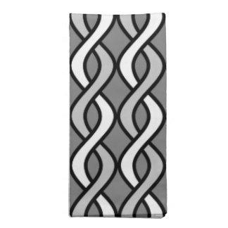 Mid-Century Modern Ribbons, grey, black and white Napkin