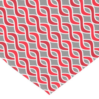 Mid-Century Modern Ribbons, red and grey / gray Short Table Runner