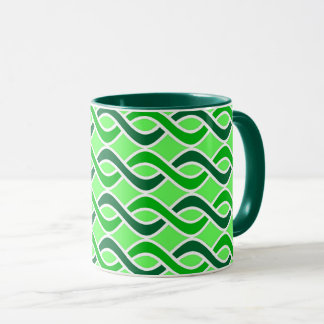 Mid-Century Modern Ribbons, shades of green Mug