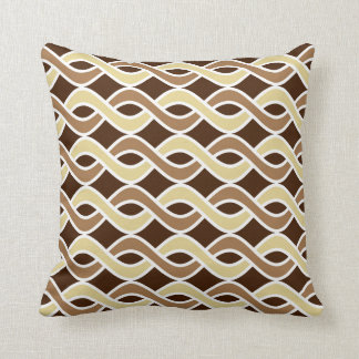 Mid-Century Modern Ribbons, taupe and brown Throw Pillow