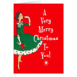 Mid Century Modern Single Girl Merry Christmas Cards