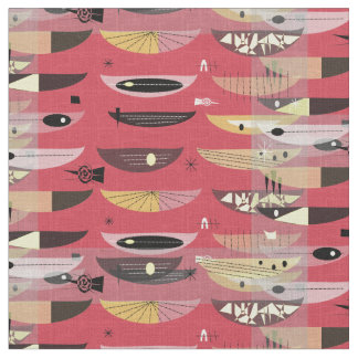 Mid-Century Modern Space Age Abstract Red Black Fabric
