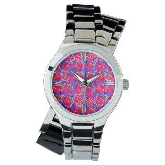 Mid-Century Modern square spirals - red multi Watch