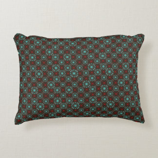 Mid Century Modern Starburst Turquoise Red Pattern Decorative Pillow