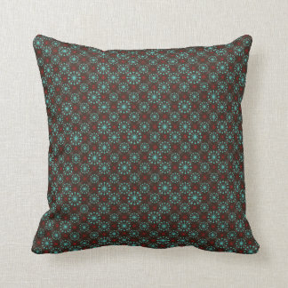 Mid Century Modern Starburst Turquoise Red Pattern Throw Pillow
