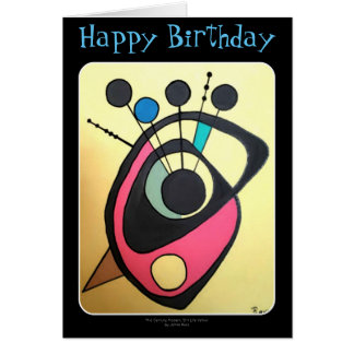 'Mid Century Modern Still Life Yellow' on a BDay Greeting Card