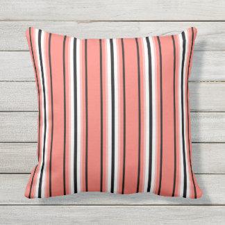 Mid-Century Modern Stripes, Coral, Black & White Throw Pillow