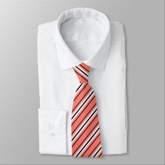 Mid-Century Modern Stripes, Coral, Black & White Tie