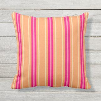 Mid-Century Modern Stripes, Fuchsia Pink & Orange Outdoor Pillow