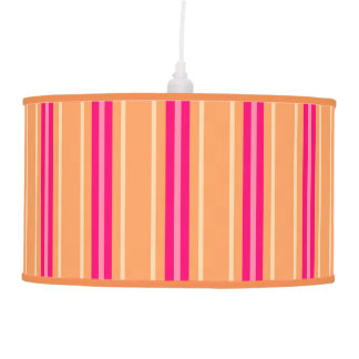 Mid-Century Modern Stripes, Fuchsia Pink & Orange Pendant Lamp