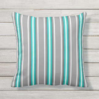 Mid-Century Modern Stripes, Gray and Turquoise Outdoor Pillow