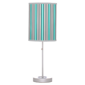 Mid-Century Modern Stripes, Gray and Turquoise Table Lamp