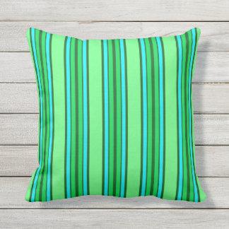 Mid-Century Modern Stripes, Lime Green and Aqua Throw Pillow