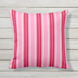 Mid-Century Modern Stripes, Pink and  Burgundy Throw Pillow