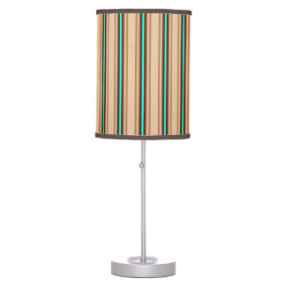 Mid-Century Modern Stripes, Tan. Brown and Aqua Table Lamp