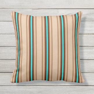 Mid-Century Modern Stripes, Tan. Brown and Aqua Throw Pillow