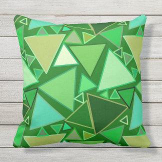 Mid-Century Modern Triangles, Emerald Green Throw Pillow