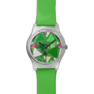 Mid-Century Modern Triangles, Lime Green Multi Watch