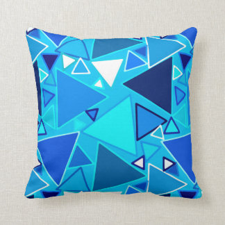Mid-Century Modern Triangles, Shades of Blue Throw Pillow