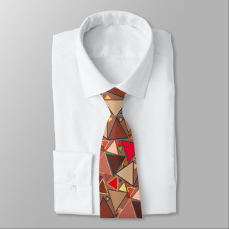 Mid-Century Modern Triangles, Taupe, Brown, Red Tie
