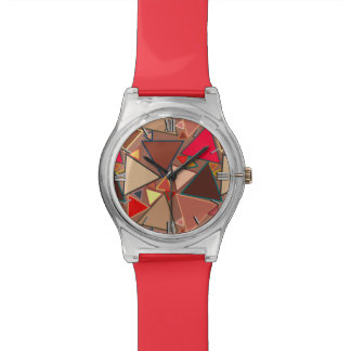Mid-Century Modern Triangles, Taupe, Brown, Red Watch