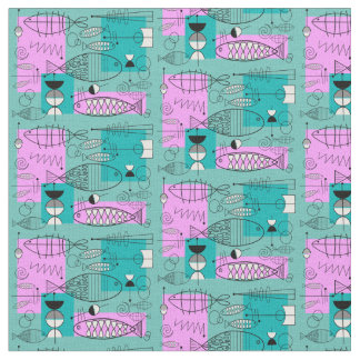 Mid-Century Modern Whimsical Fish Pink and Blue Fabric
