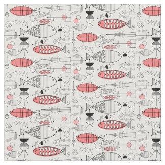 Mid-Century Modern Whimsical Fish Retro Pink Fabric