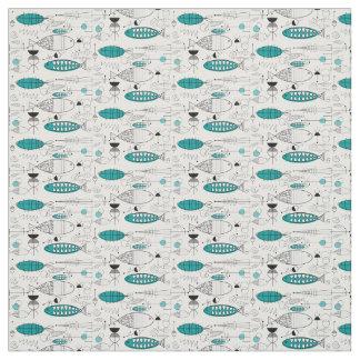 Mid-Century Modern Whimsical Fish Retro Teal Fabric