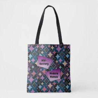Mid-Century Modern Woman 1950s Star Pattern Tote Bag