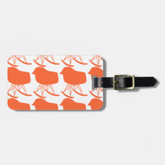 Mid-Century Orange Pattern Chair Silhouette Luggage Tag
