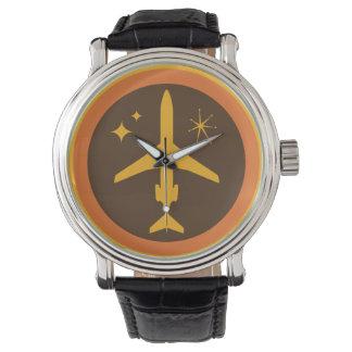 Mid-Century Retro Brown and Orange Jetliner Watch
