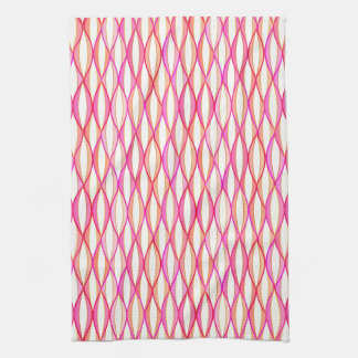 Mid-Century Ribbon Print - coral and pink Kitchen Towel