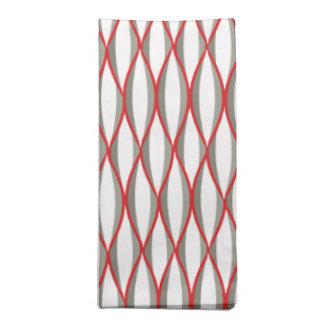 Mid-Century Ribbon Print - grey, white, red Napkin