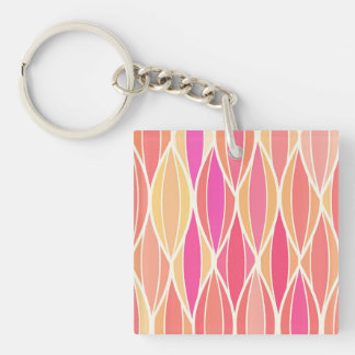 Mid-Century Ribbon Print - pink, coral and gold Square Acrylic Keychain
